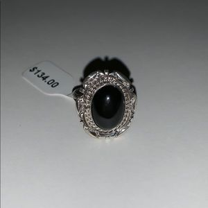 Black onyx ring sterling silver- size 7 - NWT